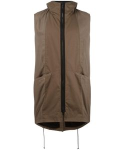 Isabel Benenato | Zipped Sleeveless Coat 48 Cotton/Leather