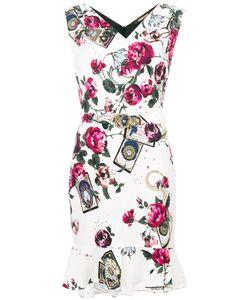 Roberto Cavalli | Платье С Принтом Роз И Поясом