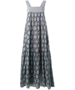 Erika Cavallini | Eyelet Detail Checked Long Dress