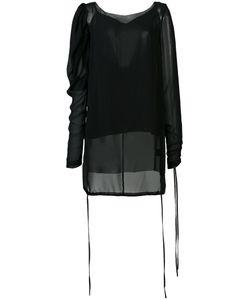 Vera Wang   Sheer Puff Sleeve Blouse 4 Silk