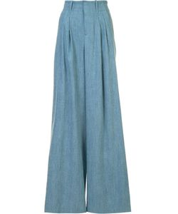 Alice + Olivia | Pleated Front Palazzo Pants 6 Lyocell/Linen/Flax/Polyester
