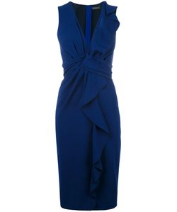 ROSSELLA JARDINI   Ruffled V-Neck Dress 46 Triacetate/Polyester