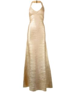Hervé Léger | Embossed Detail Evening Dress Medium Rayon/Nylon/Spandex/Elastane