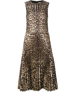 Red Valentino | Leopard Print Pleated Dress 42 Cotton/Polyamide/Polyester