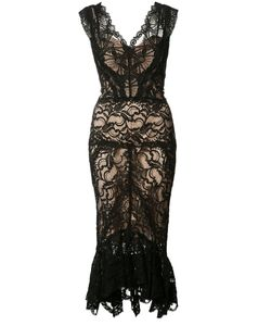Nicole Miller | Sheer Lace Dress 12 Rayon/Nylon/Cotton/Spandex/Elastane