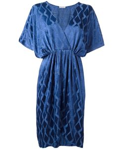 Masscob | Jacquard V-Neck Dress Large Polyester/Viscose/Polyimide