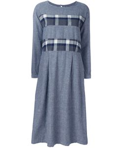 Blue Blue Japan | Plaid Striped Dress Small Cotton