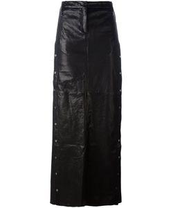 Ilaria Nistri | Studded A-Line Long Skirt 40 Leather/Silk/Viscose/Pbt