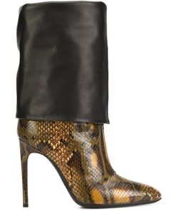 Pollini | Snakeskin Effect Boots 37 Calf Leather/Leather