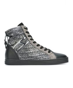 Hogan Rebel | Striped Hi-Top Sneakers 40 Leather/Patent Leather/Rubber