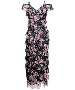 Alessandra Rich | Tiered Floral Print Dress Womens Size 40 Silk/Nylon/Viscose