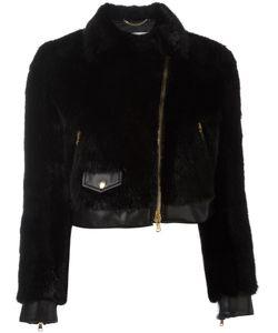 Moschino | Cropped Faux Fur Biker Jacket 42 Modacrylic/Polyester/Rayon