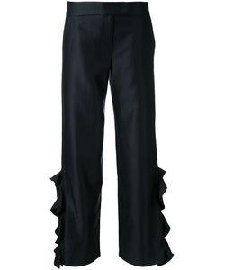 Elaidi | Ruffled Trousers 46 Polyester/Spandex/Elastane