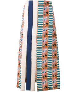 Tata Naka | American Football Print A-Line Skirt 8 Silk