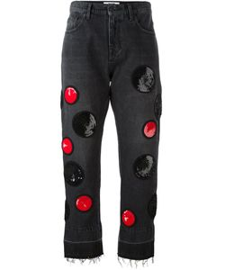 MSGM | Sequinned Patches Cropped Jeans 38 Cotton/Polyester