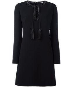Barbara Bui | Leather Detailing Longsleeved Dress 40 Polyester