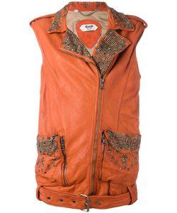 Pihakapi | Embellished Sleeveless Biker Jacket Small Lamb Skin/Viscose