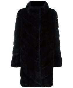 Yves Salomon | Ribbed Button Down Coat 46 Silk/Mink
