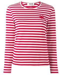 Comme des Gar ons Play | Comme Des Garçons Play Embroidered Heart Striped T-Shirt Womens Size Small