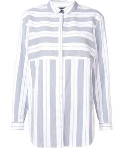 Lafayette 148 | Contrast Stripe Shirt Medium Cotton/Nylon/Spandex/Elastane