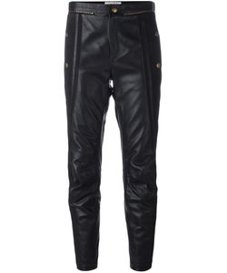 Chloe | Chloé Cropped Leather Biker Trousers Size 36 Cotton/Leather/Polyester
