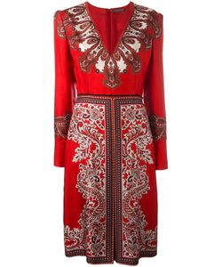 Alexander McQueen | Paisley V-Neck Dress 42 Silk/Cotton/Viscose