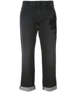 Stella Mccartney | Embroidered Cropped Jeans 28 Cotton/Spandex/Elastane/Resin/Glass