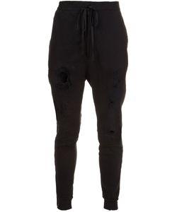 UNRAVEL | Distressed Track Pants Large Cotton/Spandex/Elastane