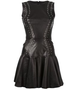 Plein Sud | Lace-Up Skater Dress 38 Leather/Polyester