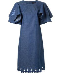 DRESS CAMP | Dresscamp Embroidered Star Ruffled Denim Dress 36 Cotton/Polyurethane