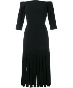 Tata Naka | Off-The-Shoulder Fringed Hem Dress 8 Wool/Bemberg