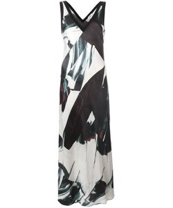 DKNY | Printed Satin Maxi Dress Medium Merino/Viscose