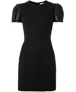 Saint Laurent | Puffball Sleeve Mini Dress 40 Silk/Polyester/Wool