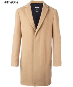 MSGM | Mid-Length Concealed Fastening Coat 52 Cotton/Polyamide/Polyester/Virgin Wool