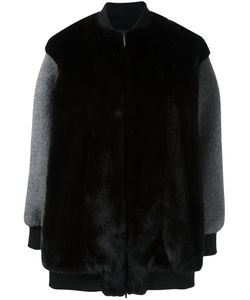 Blancha | Contrast Sleeve Coat 38 Mink Fur/Polyamide/Polyester/Wool