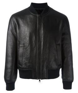 Neil Barrett | Zipped Bomber Jacket Large Leather/Polyamide/Spandex/Elastane/Polyacrylic
