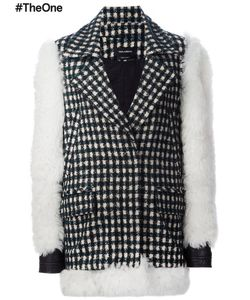Yigal Azrouel | Contrast Sleeve Checked Coat 4 Alpaca/Virgin