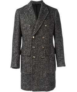 HEVO | Herringbone Pattern Double-Breasted Coat 54 Cotton/Linen/Flax/Polyamide/Alpaca