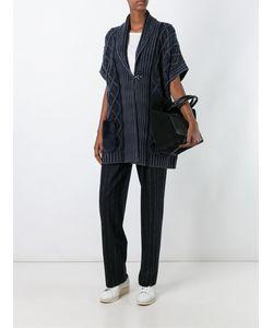 Fay | Cable Knit Short Sleeve Cardi-Coat Medium Wool/Coypu