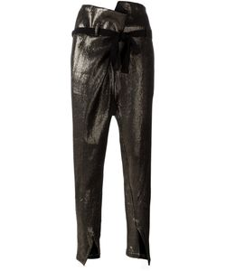 Ann Demeulemeester | Bow Waist Tapered Trousers 36 Cotton/Linen/Flax/Nylon/Virgin