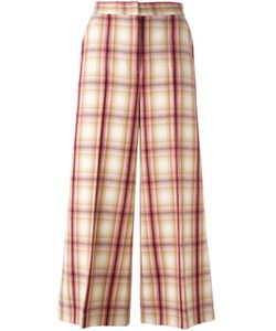 MSGM | Plaid Wide Leg Cropped Trousers 40 Polyester/Virgin