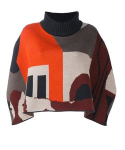 Quetsche | Geometric Pattern Sweater 36 Silk/Cashmere/Wool