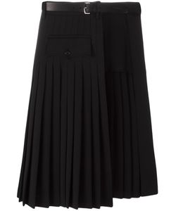 Dsquared2 | Pleated Layer Belted Skirt 42 Spandex/Elastane/Virgin Wool