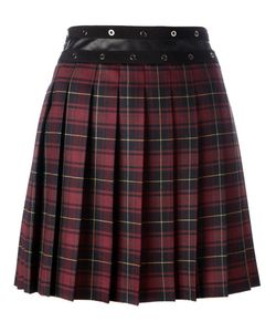 GIAMBA | Pleated Plaid Skirt 44 Polyester/Polyurethane/Virgin Wool