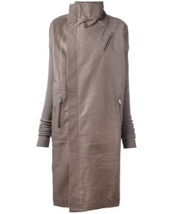 Rick Owens | Asymmetric Zip Coat 38 Cotton/Calf Leather/Polyester/Virgin