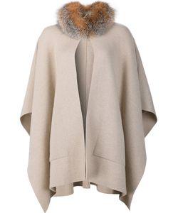 Sofia Cashmere | Fur Collar Cape Coat Fox Fur/Cashmere