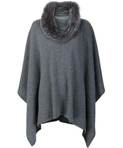 Sofia Cashmere | Fur Collar Poncho Fox Fur/Cashmere