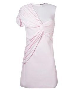 Giambattista Valli   Draped Asymmetric Shoulder Dress 46 Polyester/Viscose