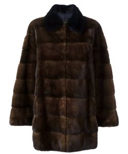Blancha | Buttoned Coat 46 Chamois Leather/Mink Fur/Viscose