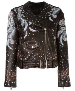 HTC Hollywood Trading Company | Feather Print Biker Jacket Small